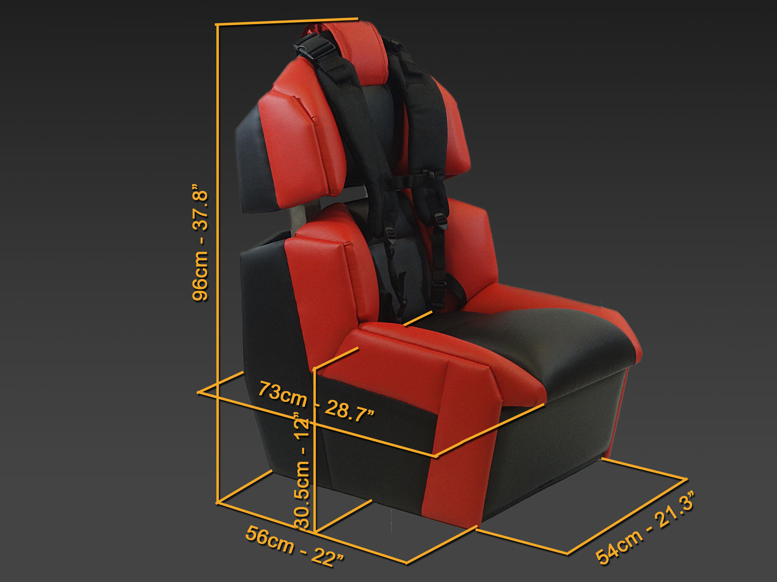 GS-Cobra motion simulator, view with dimensions in cm and inches