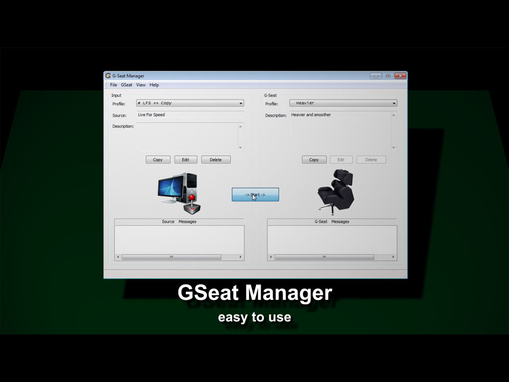 GSeatManager, software for GS-Cobra motion simulator, main window