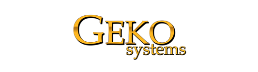 Brand logo of Geko Systems, motion simulators